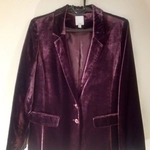 Halogen Purple Velvet Blazer Medium